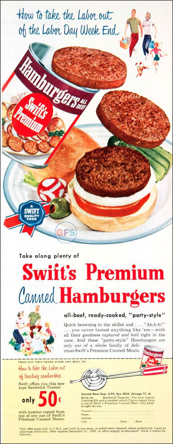 1950 advertisement for Swift's Premium Canned Hamburgers