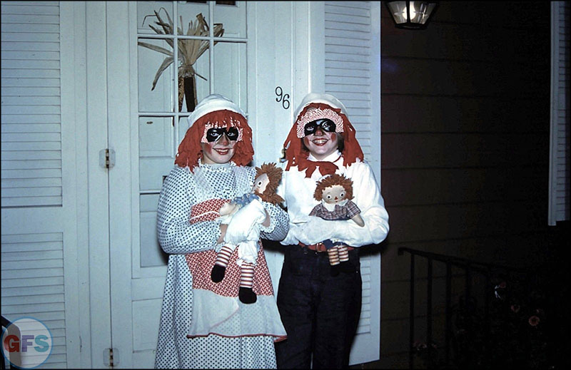Vintage Halloween slide (costumes, trick or treat, jack-o-lantern)
