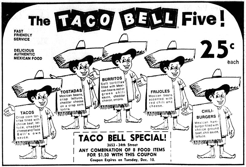 1968 Taco Bell newspaper ad