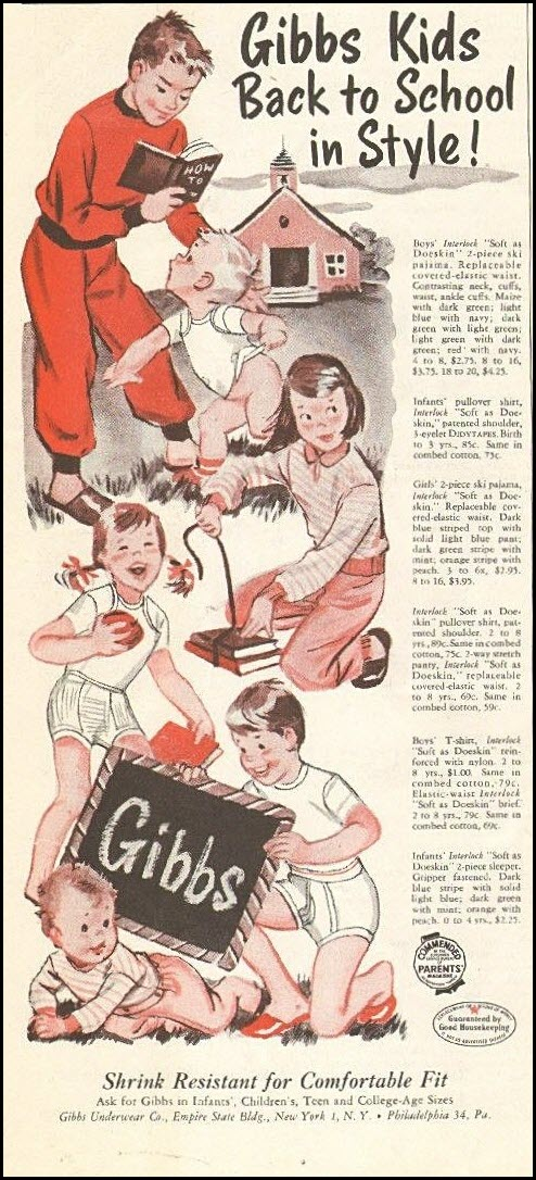 Vintage back-to-school advertisement: Gibbs, 1954