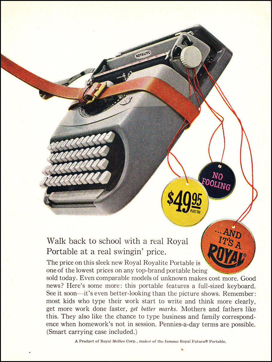 Vintage back-to-school advertisement: Royal Typewriter, 1960