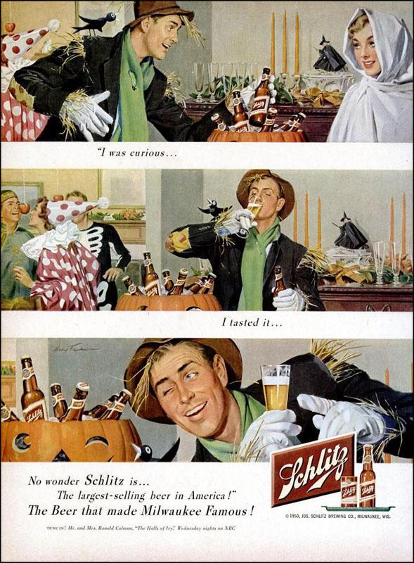 Vintage Halloween ad (Schlitz Beer, 1950)