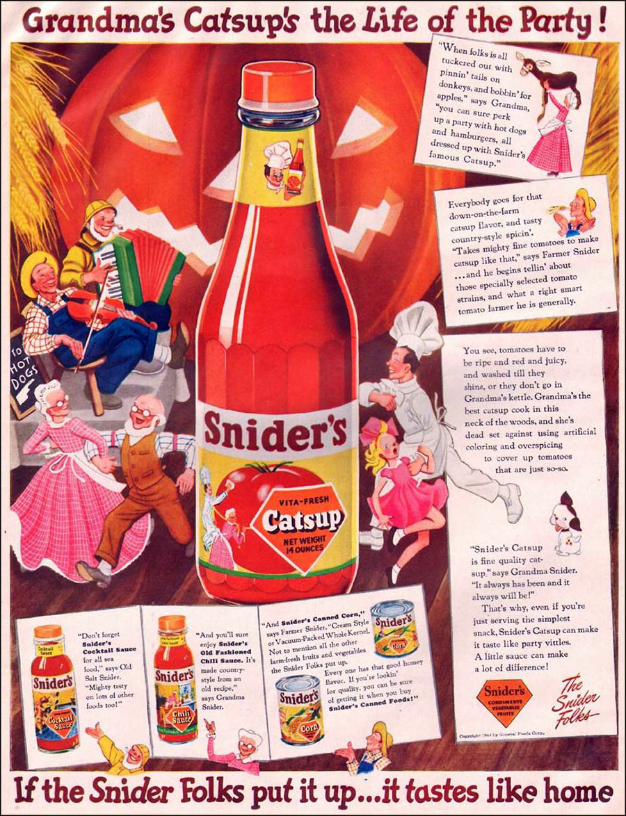 Vintage Halloween ad (Snider's Catsup, 1944)