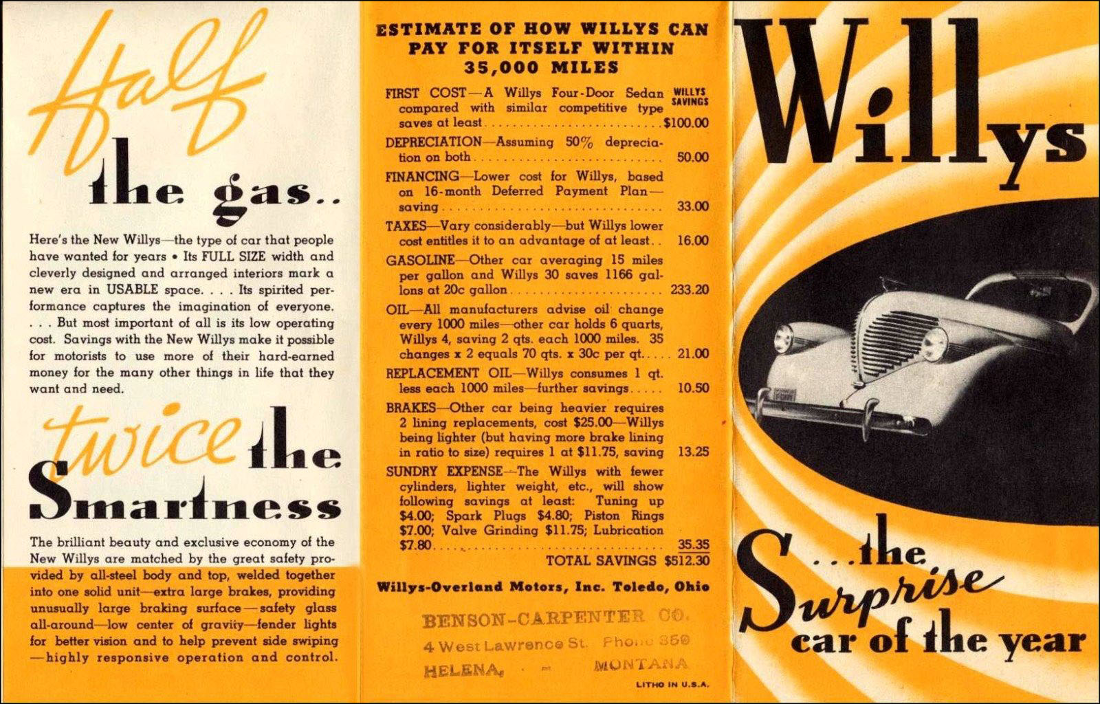 1937 Willys car brochure