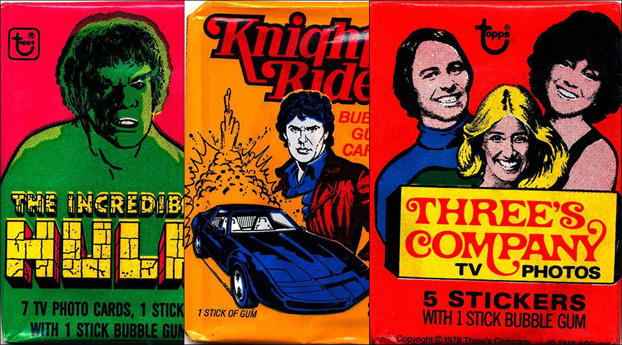 Vintage TV Show Trading Card Packs of the '70s, '80s, and '90s