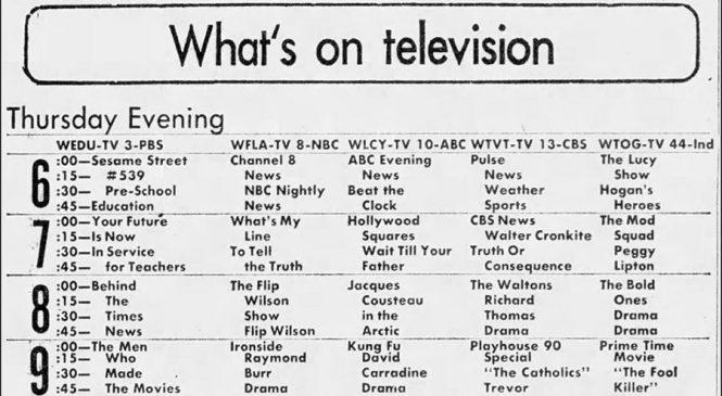 TV Listings Flashback: November 29, 1973