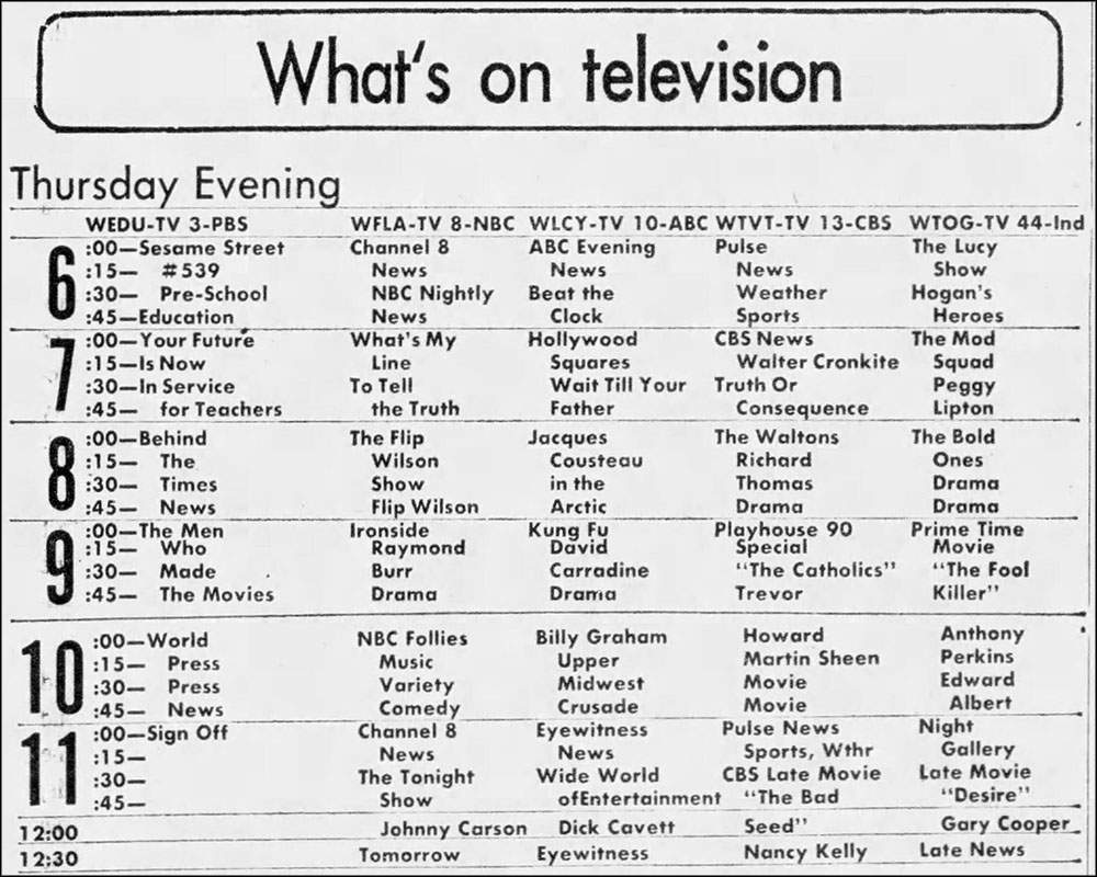 Tv Listings Flashback November 29 1973 Grayflannelsuit Net