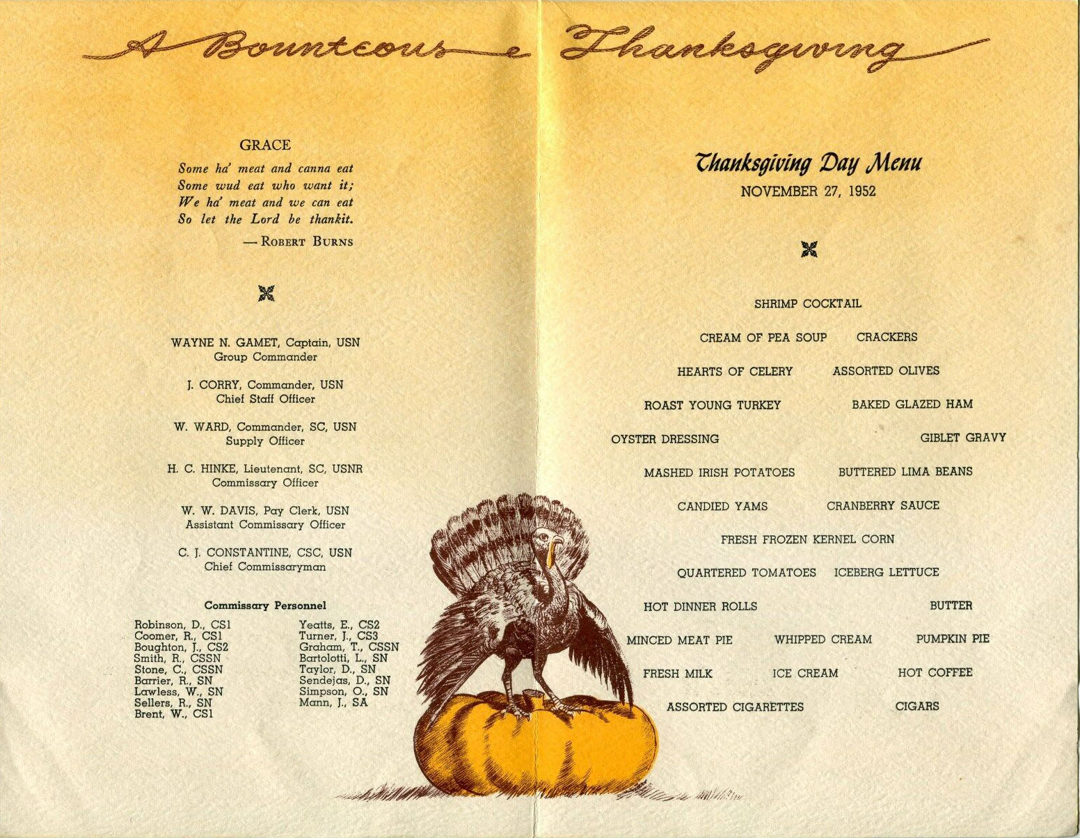 Thanksgiving menu for the Navy Pacific Reserve Fleet (1952)