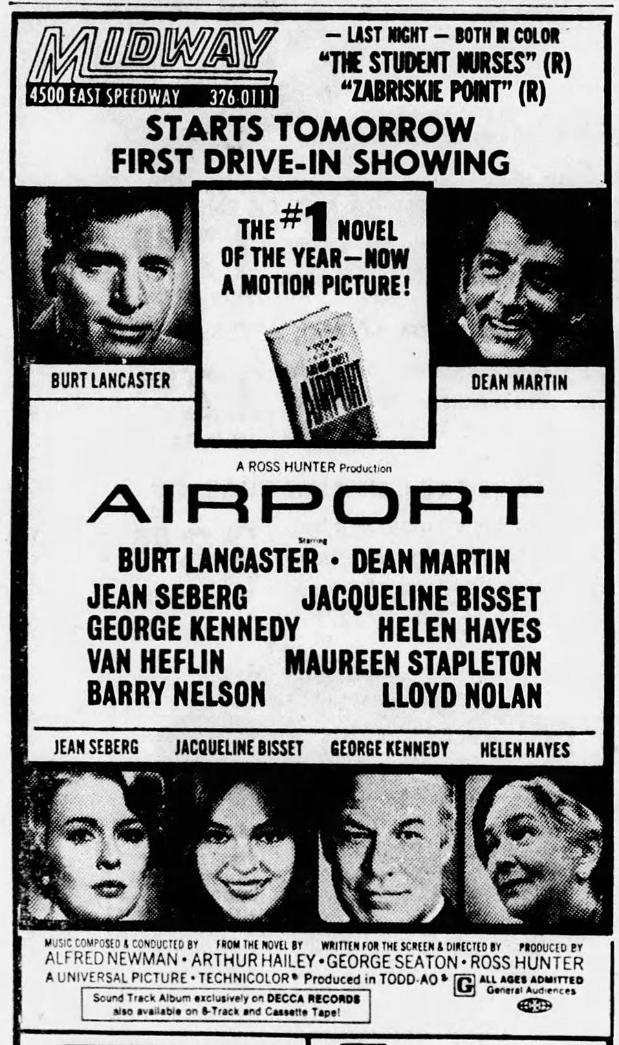 1970 Airport movie newspaper ad