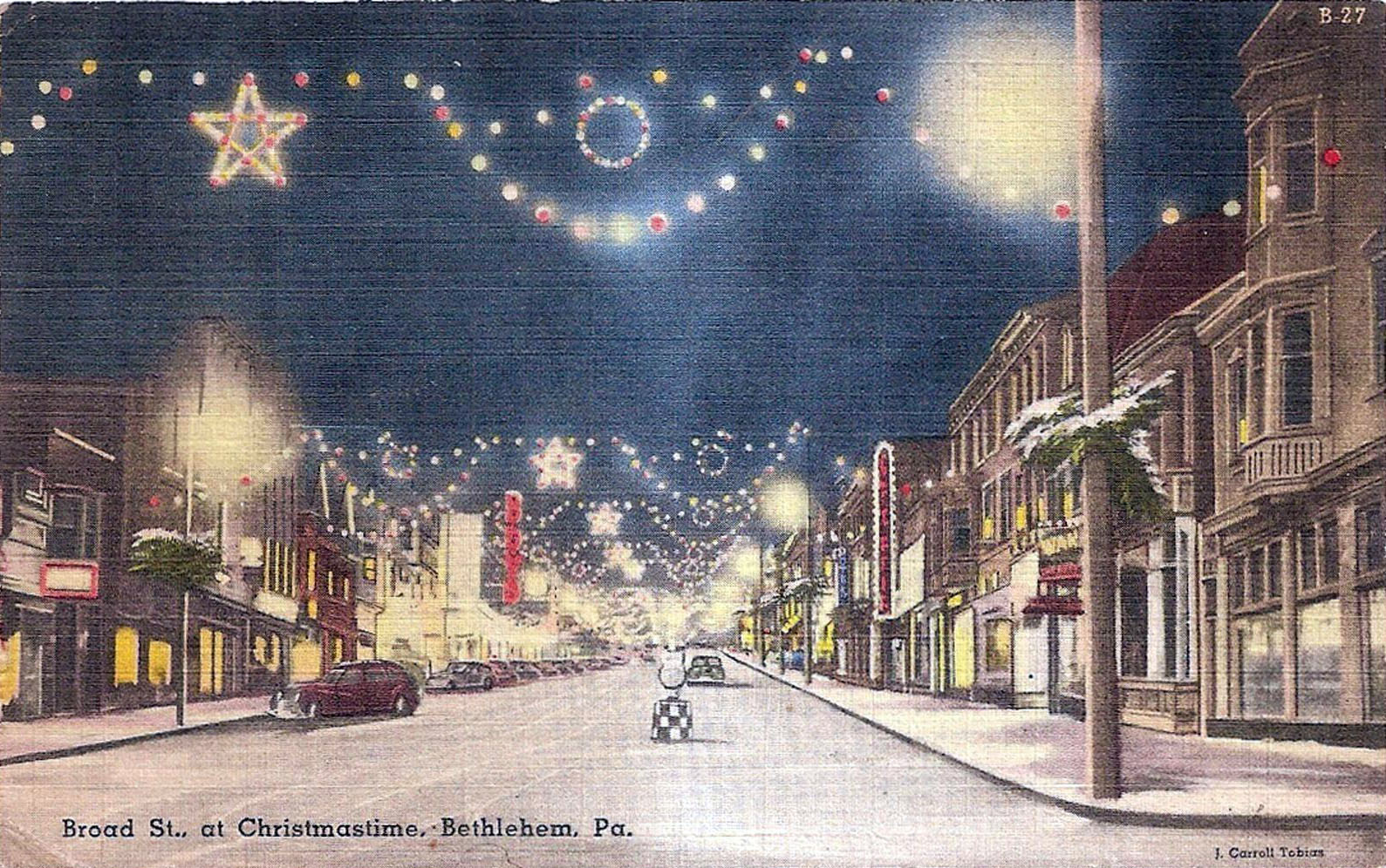 Merry Christmas from Bethlehem, PA, vintage 1940s postcard