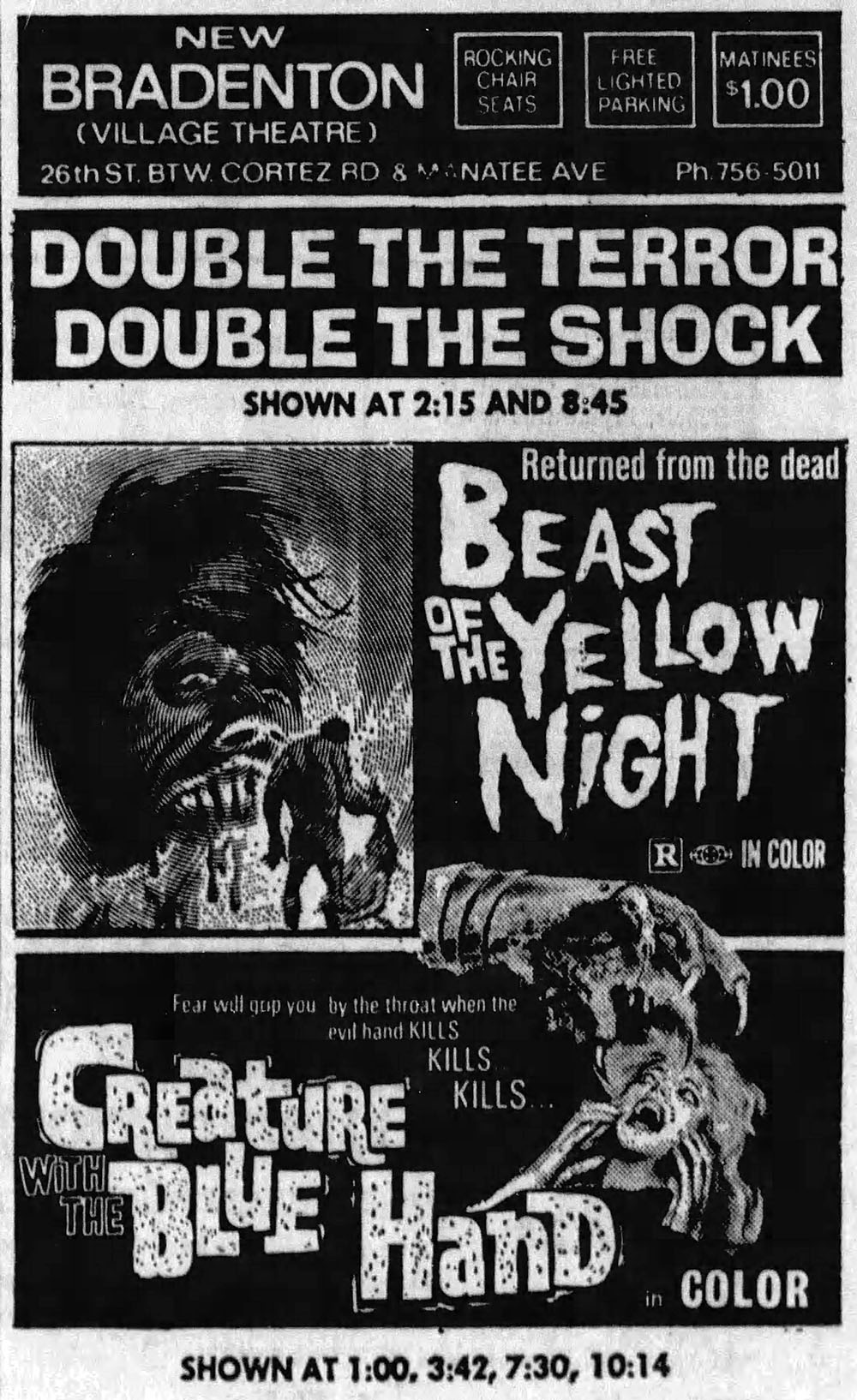 Beast of the Yellow Night and Creature with the Blue Hand newspaper ad