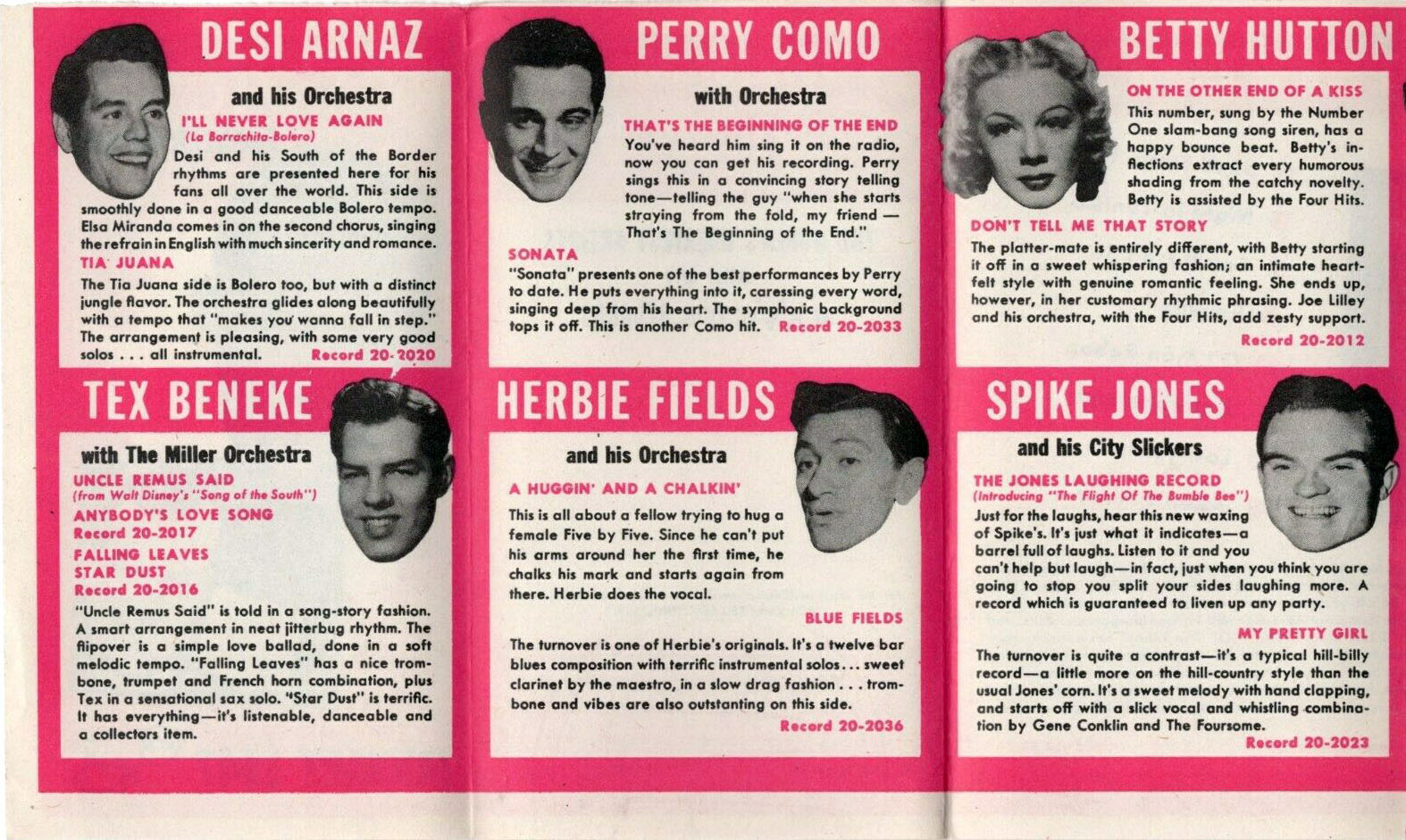 RCA Victor's Popular Records for January 1947